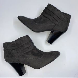 StudioWorks Suede Slip-on High Heel Ankle Booties